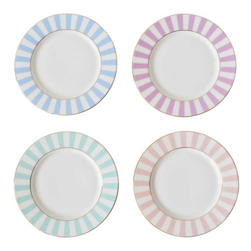 Stripy Set of 4 tea plates, Dia19cm, Pastels
