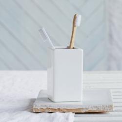 Newcombe Toothbrush holder, H12 x W7 x L7cm, white ceramic