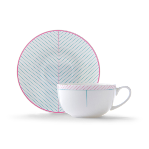 Ebb Cappuccino cup and saucer, H7.5 x D11cm, Pink/Turquoise
