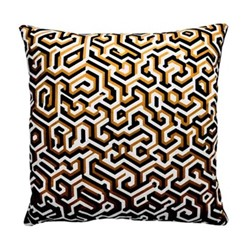 Maze Cushion, 40 x 40cm, ochre/cream/black