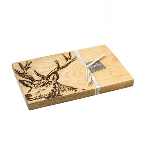 Stag Serving board, 30 x 20 x 2.5cm, Engraved Illustration