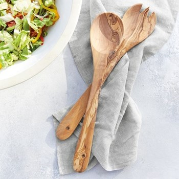 Salad servers, W7.5 x L37cm, olive wood
