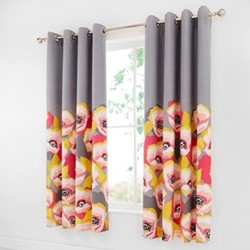 Modernist Poppy Curtains, 168 x 183cm, grey