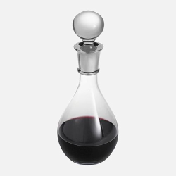 Classic Wine/port decanter, 750ml, crystal & sterling silver