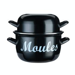 Mediterranean Enamelled steel mussel pot, 18cm