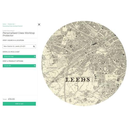 Circular worktop saver with personalised map, 30cm, glass