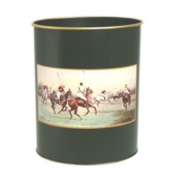 Traditional Range - Modern Polo Wastepaper bin with hand guilded gold rim, H28cm, bottle green