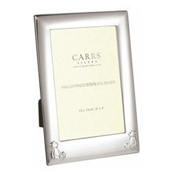"""Children's Gifts - Child's Bear Photograph frame, 6 x 4"""", sterling silver with mahogany finish back"""