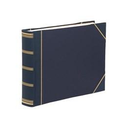 Classic Range Photograph album landscape original with 30 card pages, 28 x 38cm, blue with gold corners
