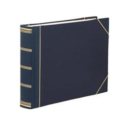 Classic Range Photograph album landscape original with 30 card pages, 31 x 41cm, blue with gold corners
