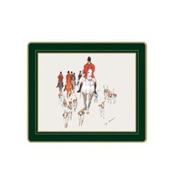Traditional Range - Hunting Set of 6 tablemats with frame line, 24 x 20cm, bottle green