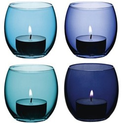 Coro Set of 4 tealight holders, 6.5cm, lagoon assorted