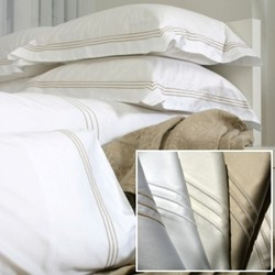 Torre King size flat sheet - Oxford style, 275 x 290cm, white with tonal 3 row cord