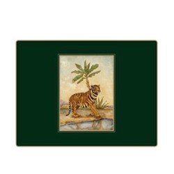 Traditional Range - African Animals Set of 4 continental placemats with frame line, 39 x 29cm, bottle green