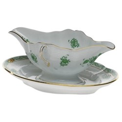Apponyi Sauce boat and stand, 52cl - 24cm, green