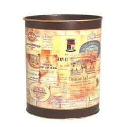 Melamine Range - Chateau Labels Wastepaper bin with hand guilded gold rim, H28cm, regal red