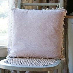Thickweave/Fringe Cushion, 45 x 45cm, pale rose