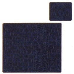 Texture Range - Croc Set of 4 continental placemats, 39 x 29cm, blue