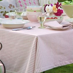 Rose and Ivory Stripe Tablecloth, 225 x 140cm