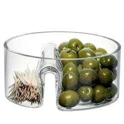 Serve Circle dish, divided, 14cm, clear