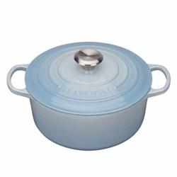 Signature Cast Iron Round casserole, 24 x 10cm - 4.2 litre, coastal blue