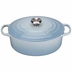 Signature Cast Iron Oval casserole, 25 x 20 x 9cm - 3.2 litre, coastal blue