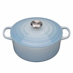 Signature Cast Iron Round casserole, 22 x 9.5cm - 3.3 litre, coastal blue