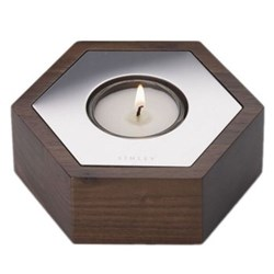 Hexagon Candle, W11.5 x D10 x H4cm, walnut