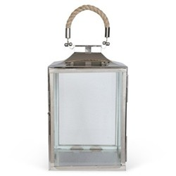 La Rochelle Lantern, 26 x 18 x 18cm, glass, nickel plate and rope