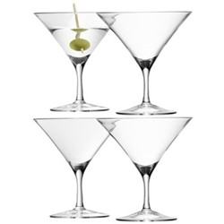Bar Set of 4 martini glasses, 18cl, clear