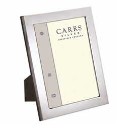 "Flat Series Photograph frame, 7 x 5"", silver plate with mahogany finish back"