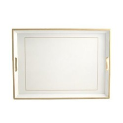 Screened Range Traditional tray with frame line, 55 x 39.5cm, white