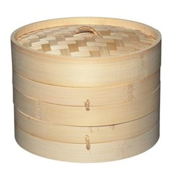 Two tier bamboo steamer with lid 20cm