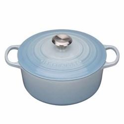 Signature Cast Iron Round casserole, 26 x 10cm - 5.3 litre, coastal blue