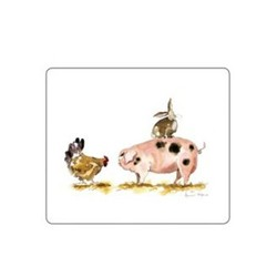 Melamine Range - Pigs Set of 6 tablemats, 24 x 20cm, white