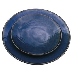 Tourron Pair of dinner plates, 26cm, indigo