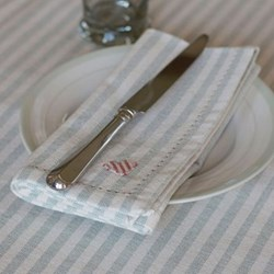 Duck Egg Blue and Ivory Stripe Set of 4 napkins