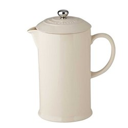 Stoneware Cafetiere with metal press, 0.75 litre, almond