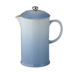 Stoneware Cafetiere with metal press, 0.75 litre, coastal blue