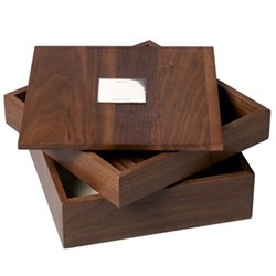 Stacking trinket box, 20 x 20 x 11.5cm, walnut