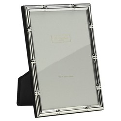 "Bamboo Photograph frame, 5 x 7"" with 10mm border, silver plate"