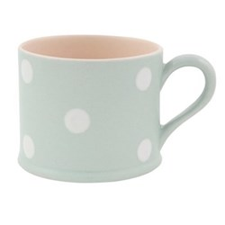 White Spot Mug straight sided, 8cm, blue