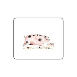 Melamine Range - Pigs Set of 6 coasters, 11 x 9cm, white