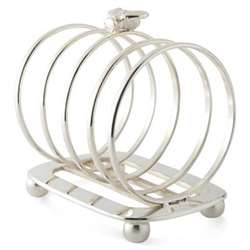 Bee Toast rack, silver plate