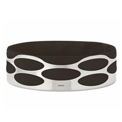 Embrace Bread tray, W23 x H7cm, satin stainless steel/black cotton