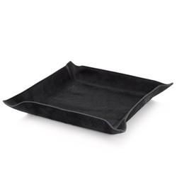 Square valet tray, 29cm, black ponyskin