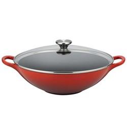 Cast Iron Wok with glass lid, 32cm, cerise