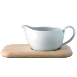 Dine Sauce boat with oak stand, 45cl, white