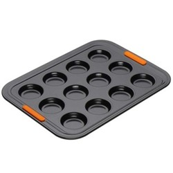 Bakeware 12 cup bun tray, 40 x 30 x 2.3cm, black