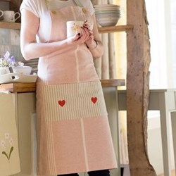 Oxford Stripe Apron, pale rose
